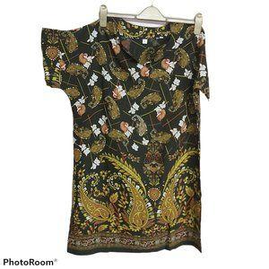 *3/$85* Tunic top loose dark green floral paisley